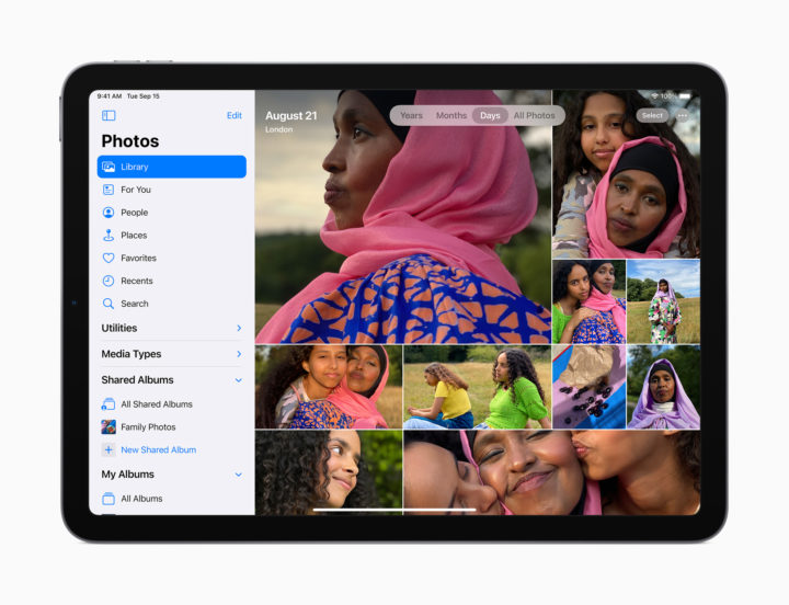 iPad Air showing photo library