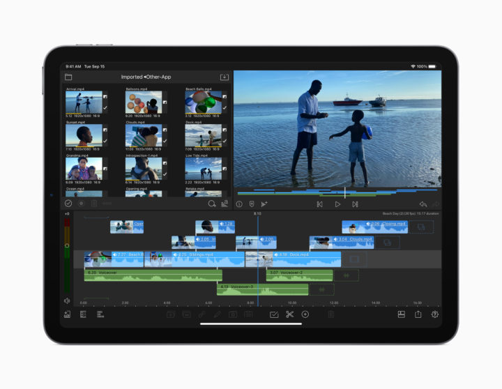 iPad Air doing video editing